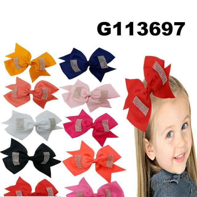 school girls kids large crystal stone ribbon hair bows wholesale 6
