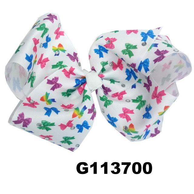 school girls kids large crystal stone ribbon hair bows wholesale 7