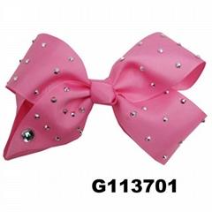 boutique big glitter crystal stone ribbon hair bow