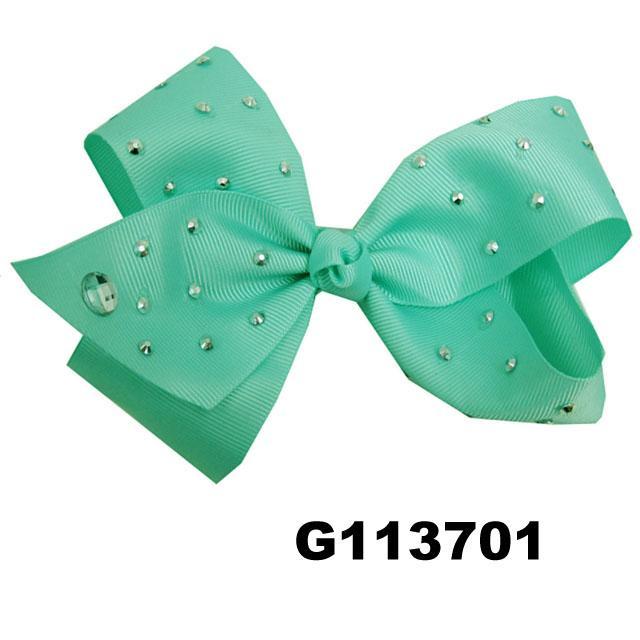 boutique big glitter crystal stone ribbon hair bow 3
