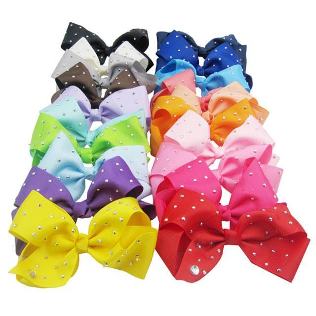 boutique big glitter crystal stone ribbon hair bow 4
