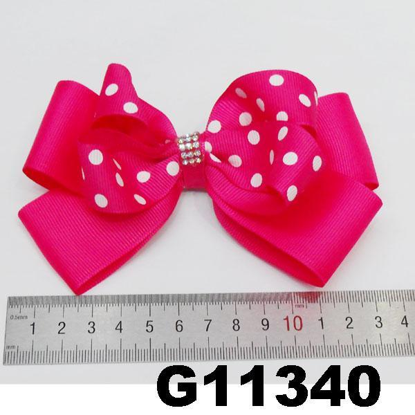 boutique big glitter crystal stone ribbon hair bow 7