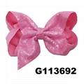 boutique baby girls kids glitter sequin ribbon hair bows wholesale