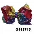 boutique baby girls kids glitter sequin ribbon hair bows wholesale 3