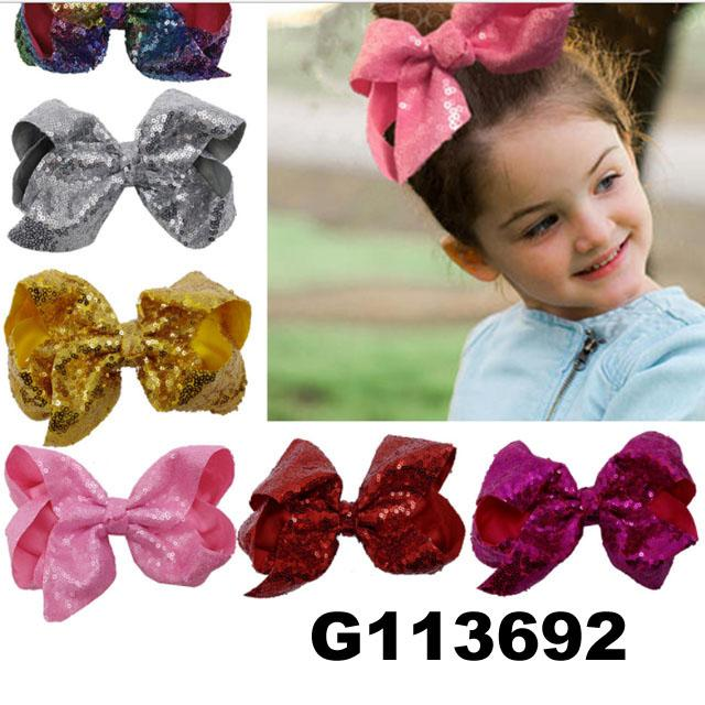 boutique baby girls kids glitter sequin ribbon hair bows wholesale 4