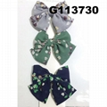 girls print chiffon fabric hair bow 1