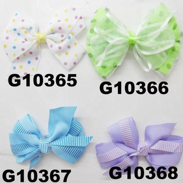 girls print chiffon fabric hair bow 4