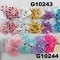 girls print chiffon fabric hair bow 6