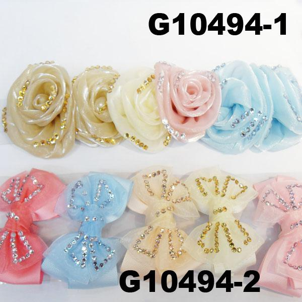 girls print chiffon fabric hair bow 8