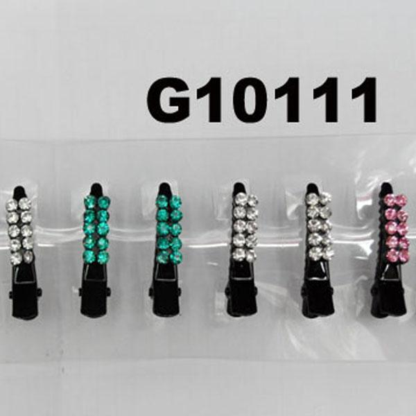 wholesale mini crystal stone flower black metal duck hair clip 6