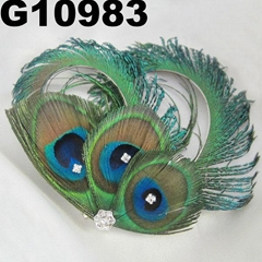 fashion women crystal stone peacock feather hair clip
