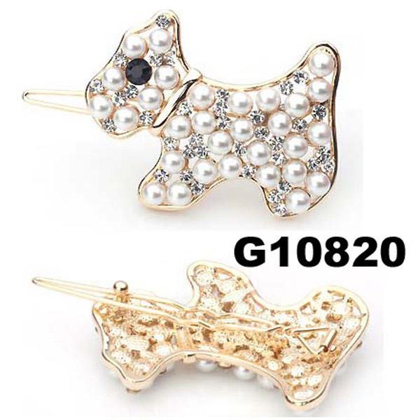 kids girls pearl crystal rhinestone stone bulldog hair clip 1