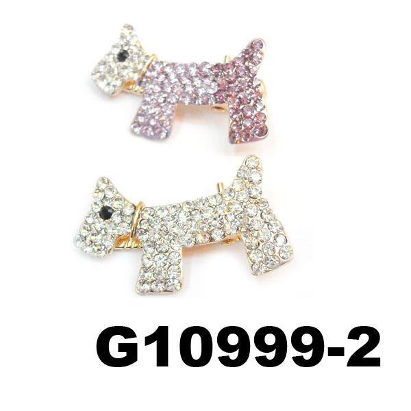 kids girls pearl crystal rhinestone stone bulldog hair clip 2