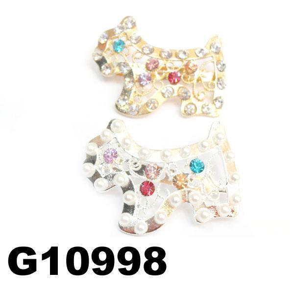 kids girls pearl crystal rhinestone stone bulldog hair clip 3