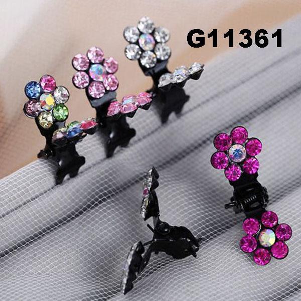 bridal wedding crystal stone mini flower hair claw clip 1