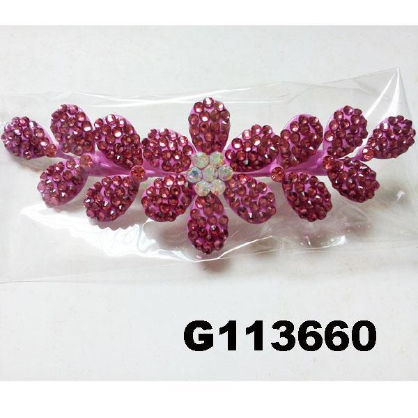 fancy wedding bridal women crystal stone flower hair clips 1
