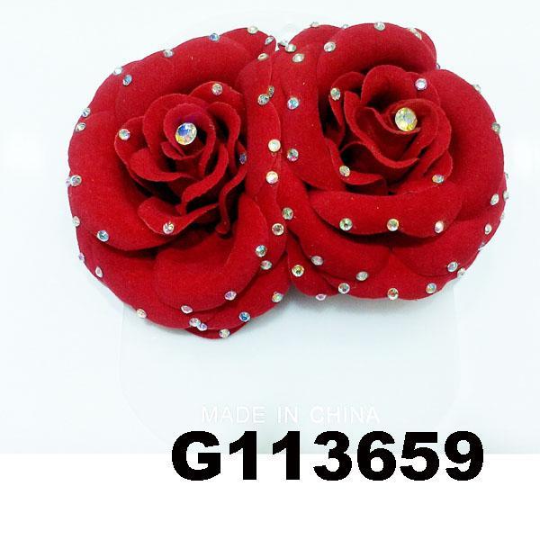 fancy wedding bridal women crystal stone flower hair clips 4