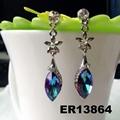 fashion women crystal stone flower teardrop drop earring