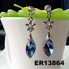 fashion women crystal stone flower teardrop drop earring