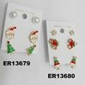fashion crystal stone metal christmas earrings wholesale