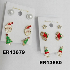 fashion crystal stone metal christmas earrings wholesale