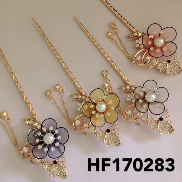 fashion women crystal pearl flower metal hair pin 1