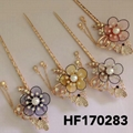 fashion women crystal pearl flower metal