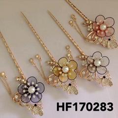 fashion women crystal pearl flower metal hair pin