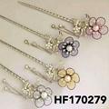 fashion women crystal pearl flower metal hair pin 2