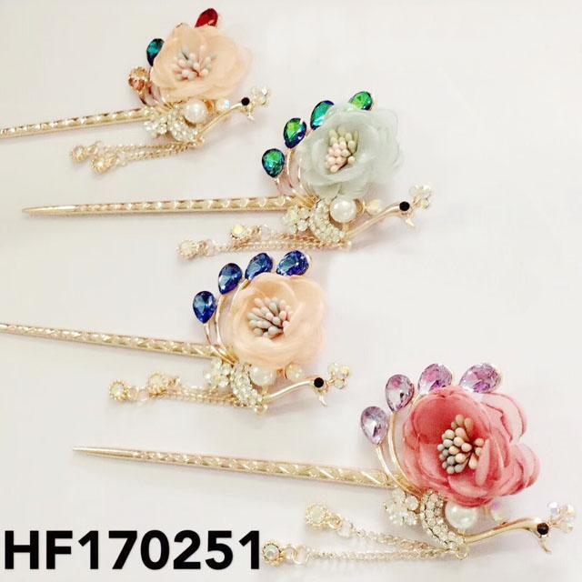 fashion women crystal pearl flower metal hair pin 3