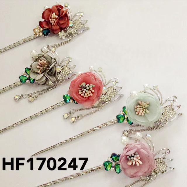 fashion women crystal pearl flower metal hair pin 4