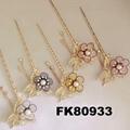 fashion women crystal pearl flower metal hair pin 5