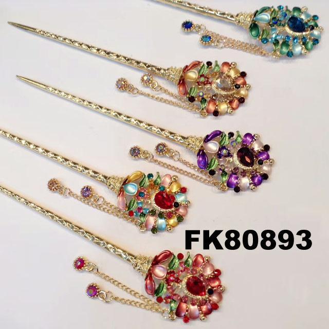 fashion women crystal pearl flower metal hair pin 6