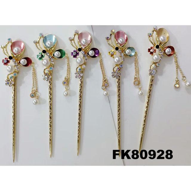 fashion women crystal pearl flower metal hair pin 7