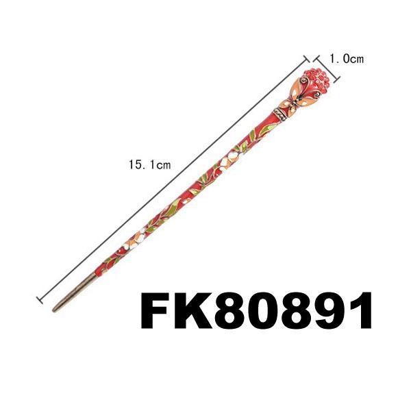 fashion women ladies crystal enamel flower metal hair pin 1