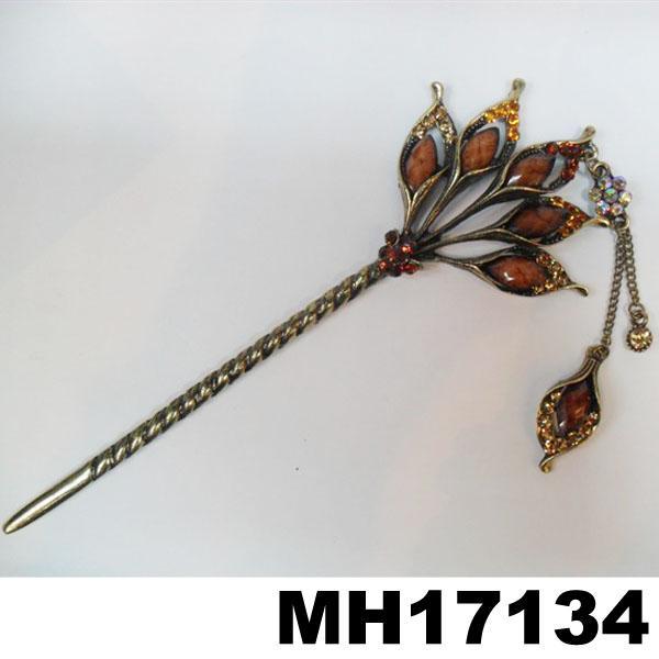 fashion women ladies crystal enamel flower metal hair pin 5