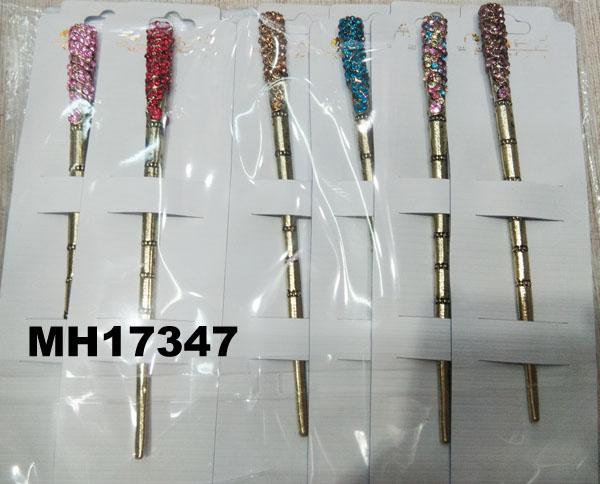 women ladies crystal stone pearl metal hair pin 4