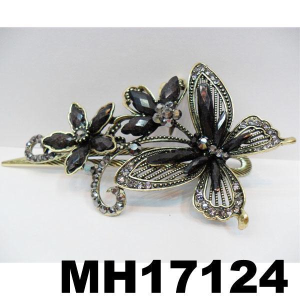 women crystal stone butterfly metal hair clips 1