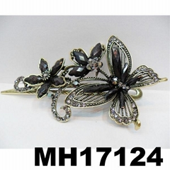women crystal stone butterfly metal hair clips
