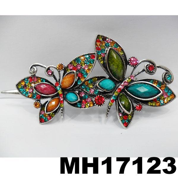 women crystal stone butterfly metal hair clips 2
