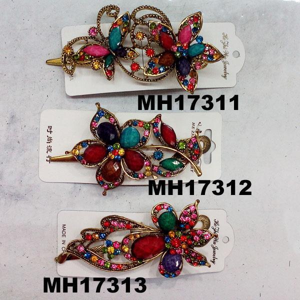 women antique crystal stone flower metal beak concord hair clips 1