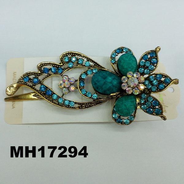 women antique crystal stone flower metal beak concord hair clips 2