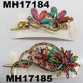 women antique crystal stone flower metal beak concord hair clips 4