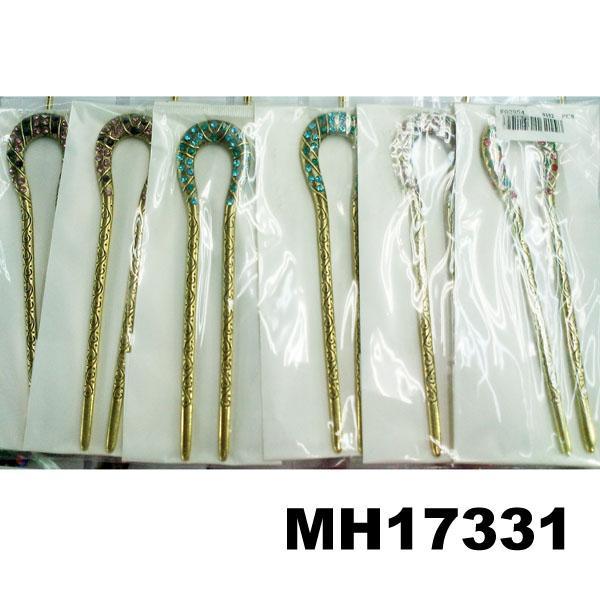 fashion women crystal stone u shaped metal hair clips 1