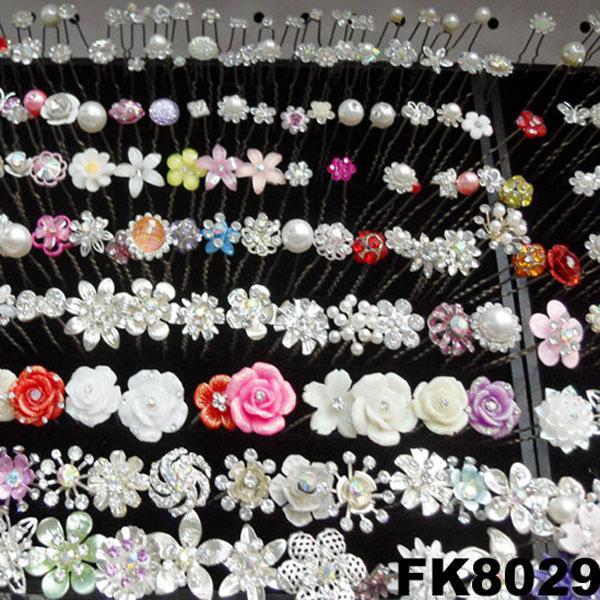 wedding bridal crystal pearl flower u shaped metal hair clips pins wholesale 3