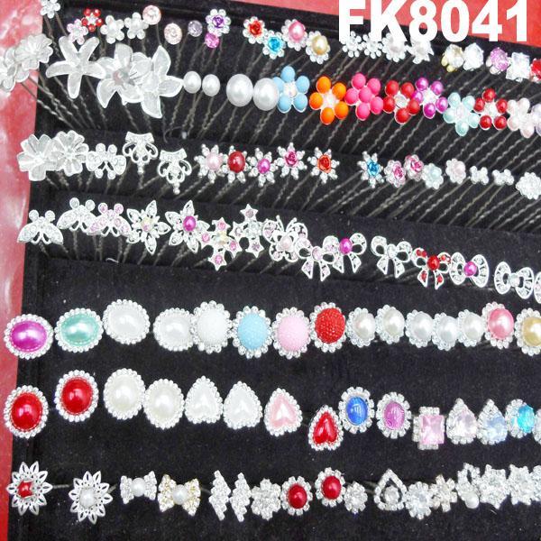 wedding bridal crystal pearl flower u shaped metal hair clips pins wholesale 4