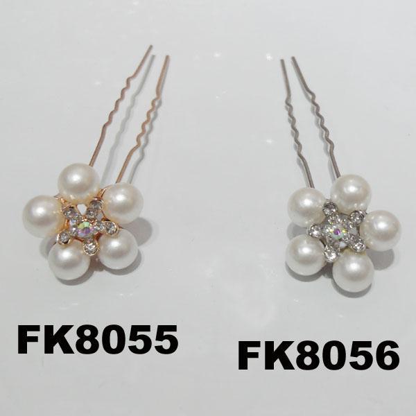 wedding bridal crystal pearl flower u shaped metal hair clips pins wholesale 5