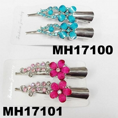 women kids crystal stone flower metal beak concord hair clips wholesale