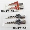 women kids crystal stone flower metal beak concord hair clips wholesale 6