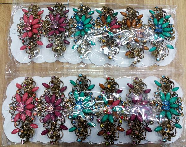women antique crystal stone flower metal barrette 4